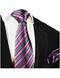 "<span class=""a-offscreen"">[Sponsored]</span>Striped Paul Malone Silk Tie and Pocket Square . Grey and Pink"