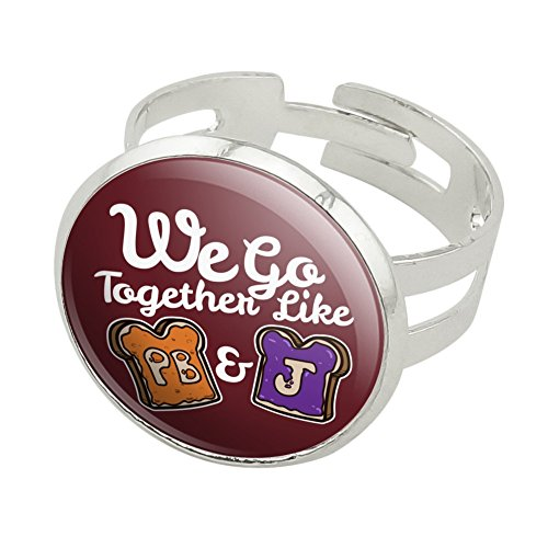 Graphics and More Peanut Butter and Jelly Together PB&J Best Friends Silver Plated Adjustable Novelty Ring