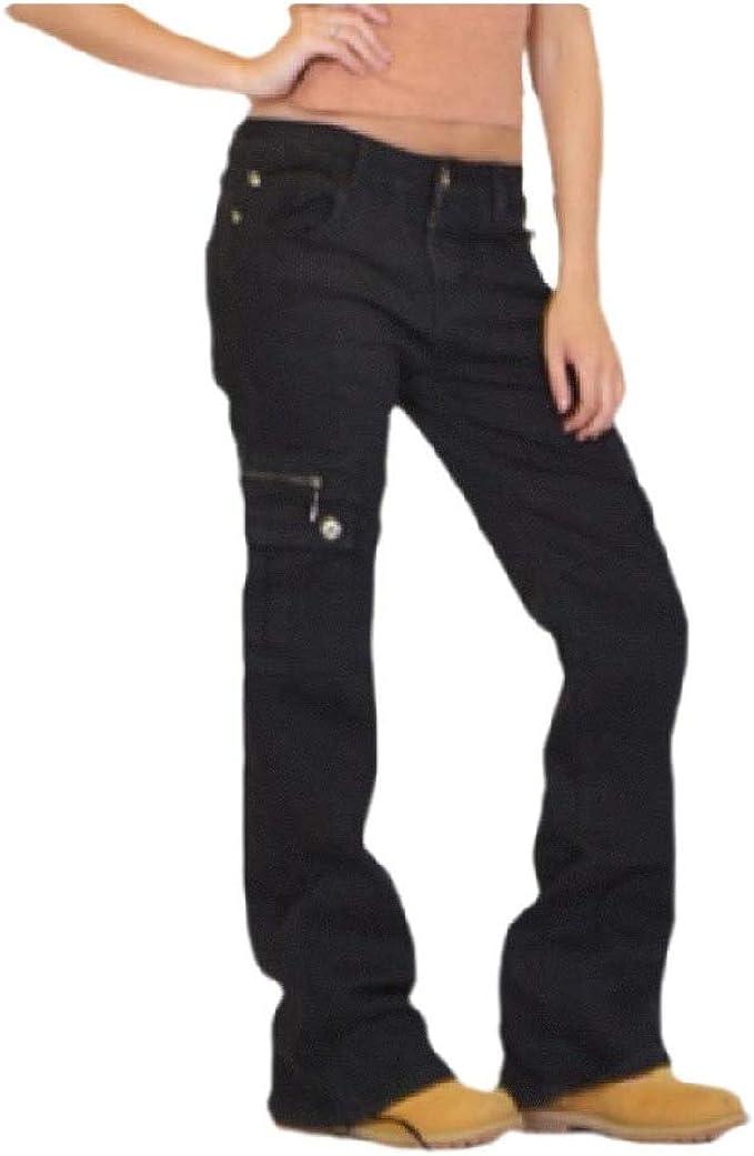 VITryst Women Zipper Multi-pocket Pure Color Wash Straight-Fit Straight Leg Jean