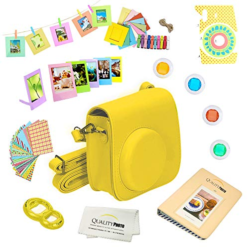 Quality Photo Instant Camera 12-Piece Accessories Kit Bundle for Fujifilm Instax Mini 8 & Mini 9 Camera Includes; Case W/Strap, Lens Filters, Photo Album & Frames + More (Yellow)