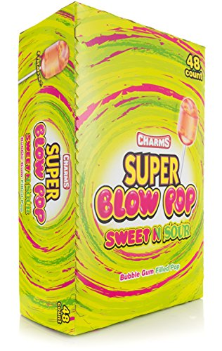 Charms Super Blow Pops - Sweet & Sour 48 ct (Sweet Lollipops Sour)
