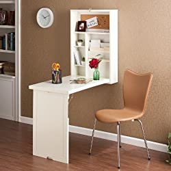 Wood Wall Mount Fold Out Convertible Laptop Desk - Winter White