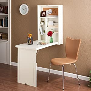 wall mounted laptop desk. wood wall mount fold out convertible laptop desk - antique white mounted l