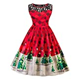Snowfoller Women Geometry Patchwork Dress, Fashion Sexy Christmas Tree Print Sleeveless Lace Patchwork Firefly Checkered Vintage Snow Swing Dress (XL, Red)