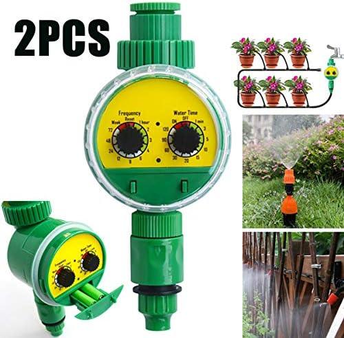 AYUSHOP Digitaler Wassertimer Smart, Elektronischer Bewässerungsuhr Garten Bewässerungssteuerung Zwei Dial für Gartengewächshaus Pflanze Gras, Balkon (2 Stück)