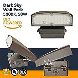 50W LED Wall Pack Light - LED Powered Outdoors Dark Sky Wall Pack - 5000K - (UL+DLC)