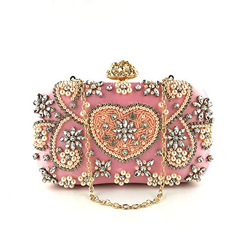 - Clutch Purses Evening Bag for Women, Noble Crystal Pearl Beaded Evening Bag Wedding Clutch Purse, Pink Bag