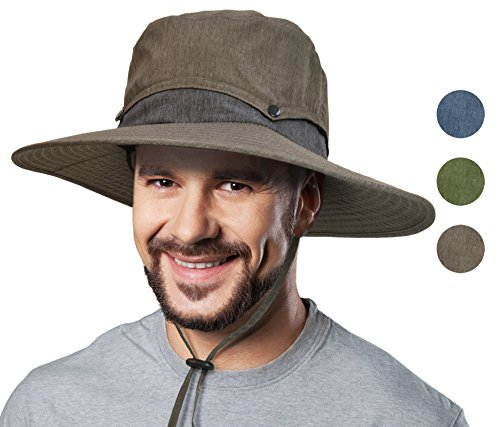 Solaris Outdoor Sun Protection Hat Men Wide Brim Hunting Fishing Camping Safari Cap with Collapsible Crown - Large Bucket Brim