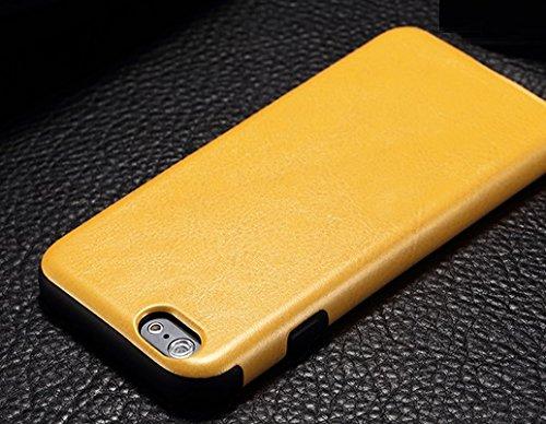 iphone6plus携帯ケース レザー&樹脂コンビ8色 黒白赤青黄緑ピンク茶紺ベージュオレンジスエード アイフォン66プラススマホカバー (目印に便利、「ホナまたステッカー」付き)[ケンコバハンズ](6Plus橙)