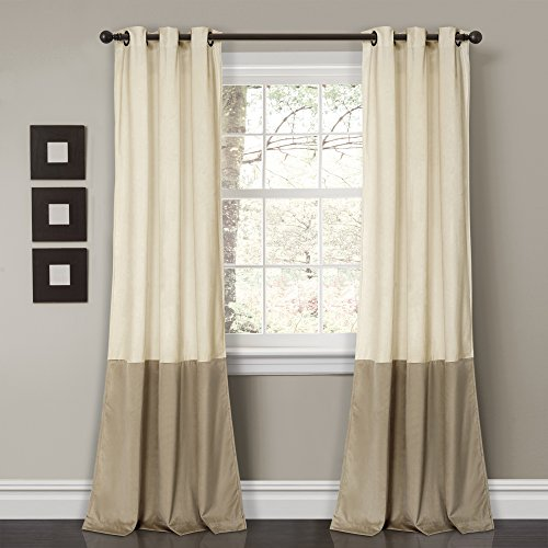 (Lush Decor Prima Velvet Curtains Color Block Room Darkening Window Panel Set for Living, Dining, Bedroom (Pair), 84