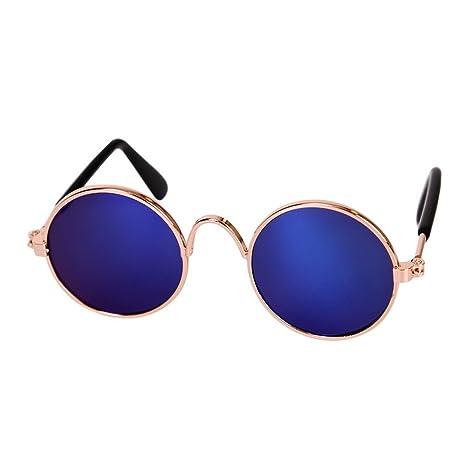 laamei Gafas de Sol para Mascotas Gafas de Metal Circulares ...