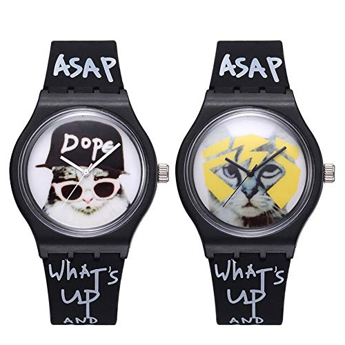 Cool Boys Girls Letters Cat No Numbers Analog Quartz Silicone Band Wrist Watch by Gaweb (Image #1)