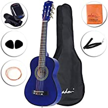 ADM Beginner Classical Guitar 30 Inch Nylon Strings Bundle with Carrying Bag & Accessories, Blue