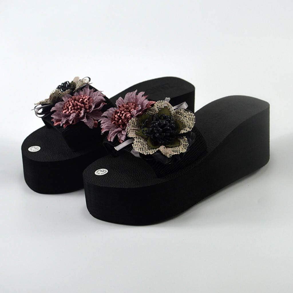 FengGa Women Floral Thick Bottom Flip Flops Beach Flip Flops with Flower Ornament Bohemia Home Bathroom Beach Slippers