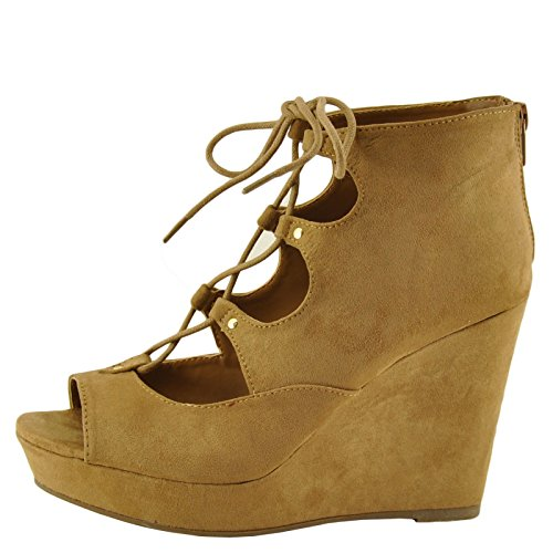 Bamboo Parker 43s Womens Lace Up Peep Toe Platform Wedge Tan Fs