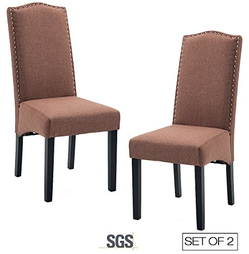 Cheap ZXBSWELE Set of 2 Solid Wood Parsons Chair with Nailhead Trim for Dining Room, Living Room, Brown
