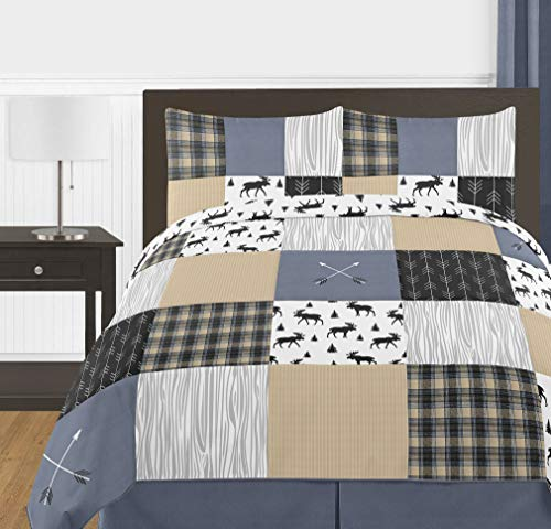 (Sweet Jojo Designs Blue, Tan, Grey and Black Woodland Plaid and Arrow Rustic Patch Boy Full/Queen Teen Childrens Bedding Comforter Set - 3)