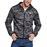 SEVENWELL Men's Long Sleeve Zip-up Casual Mesh Hoodie Coat Sweatshirt Jacket Outdoor Multi Pockets Gray L