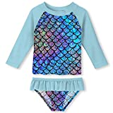 Toddler Girls 2-Pieces Rash Guard Swimsuit Set Beach Bathing Suit Long Sleeve for Full Coverage Galaxy 3-4T
