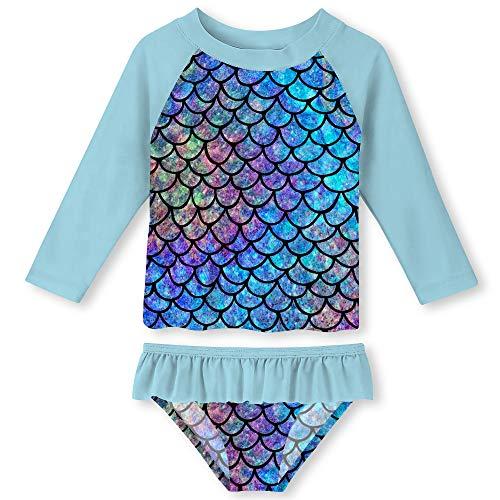 (Funnycokid Toddler Girls' Fish Scale Flounce Tankini Beach Sport 2-Piece Swimsuit Rashguard, Mermaid Blue, 2Y)