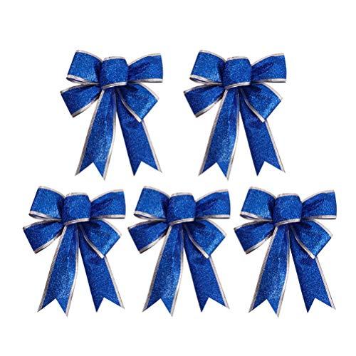 (HEALIFTY 5Pcs Christmas Glittering Ribbon Bow Gift Knot Ribbon Ornaments Christmas Tree Presents)