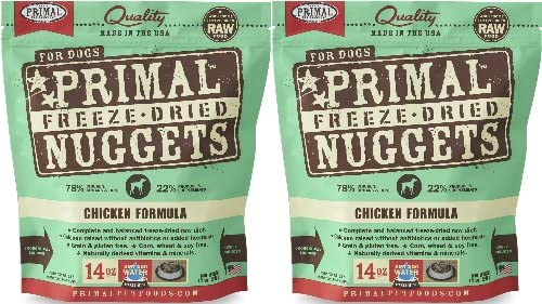 Primal Freeze-Dried Nuggets Chicken Formula for Dogs 28oz 2 x 14oz