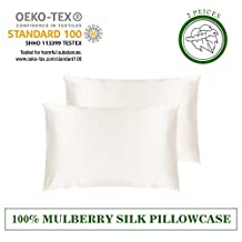LILYSILK 2Pcs Silk Pillowcase for Hair&Facial Beauty 100% Pure Mulberry Silk With Cotton Underside Prevents Sleep Wrinkles, Protects Hair, Zipper Closure, King Size(50X90cm,Ivory)