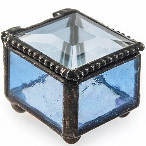 J Devlin Box 521 Small Blue Stained Glass Ring Box Jewelry Keepsake Ring Dish Decorative Trinket Box (Glass Keepsake)
