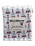 MAXIMOOSE Cosmos Rockets Spaceship Stars Boys Twin or Full Sheet Set 100% Cotton Flannel Outer Space Room for Kids Bedroom Red Blue Navy (Full)