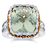 .925 Sterling Silver Gold Plated Cushion Checkerboard Cut Natural Green Amethyst Solitaire Ring