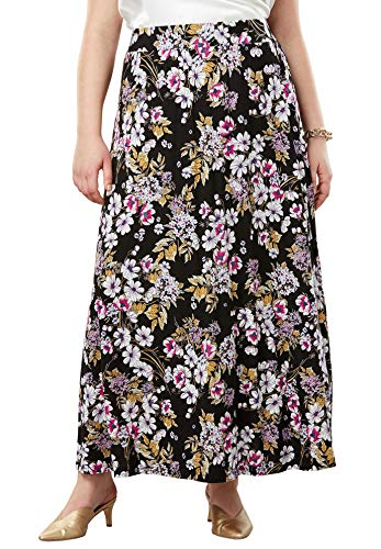 Jessica London Women's Plus Size Everyday Knit Maxi Skirt - Black Bouquet Floral, 12 ()