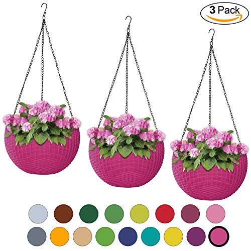 ALMI Hanna Hanging Planter 11 Inch [3 Pack] Round Plastic Decor Garden Resin Flower Pot Chain Basket for Plant, Planters for Plants, for Indoor and Outdoor, Fuchsia ()