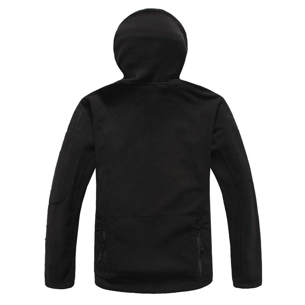 ReFire Gear Men's Warm Military Tactical Sport Fleece Hoodie Jacket ( Large, Black) by ReFire Gear (Image #3)