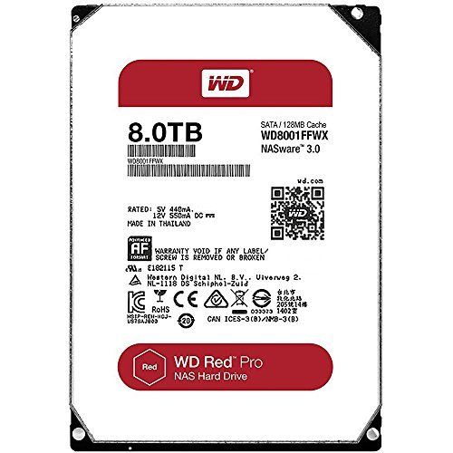 WD Red Pro 8TB 3.5-Inch SATA III 7200rpm 128MB Cache NAS Internal Hard Drive (WD8001FFWX) by Western Digital