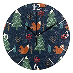 SLHFPX Wall Clock Squirrel in Forest Silent Non Ticking Decorative Round Digital Clocks for Home/Office/School Clock