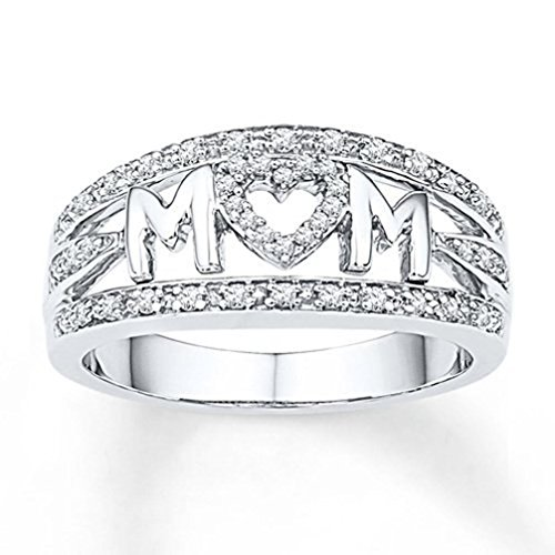 Challyhope for Mom! Fashion Luxury Rings Cubic Zirconia Heart Mom Band Ring Best Gift for Mother Jewelry