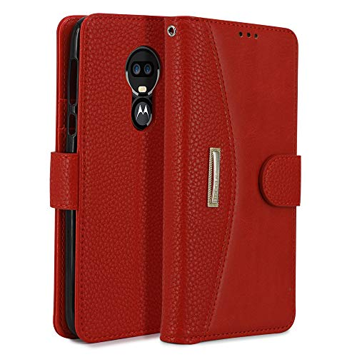 IDOOLS Phone Case for Motorola G7 Power, Folding Flip Leather Wallet Cases Protective Cover Strong Magnetic Closure Protector with Card Slots Kickstand【Removable Hand Strap】(Red, 6.2