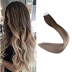 "Full Shine 22"" 40 Pcs 100 Gram Per Package Ombre Tape Hair Extensions Human Remy Hair Color #4 Fading to #18 Ash Blonde Balayage Dip Dye Tape Hair Extensions Real"