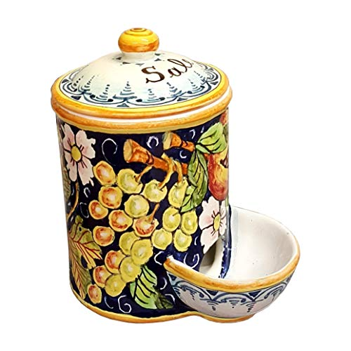 (CERAMICHE D'ARTE PARRINI- Italian Ceramic Jar Salt Holder Decorated Grape Hand Painted Made in ITALY Tuscan Art Pottery)