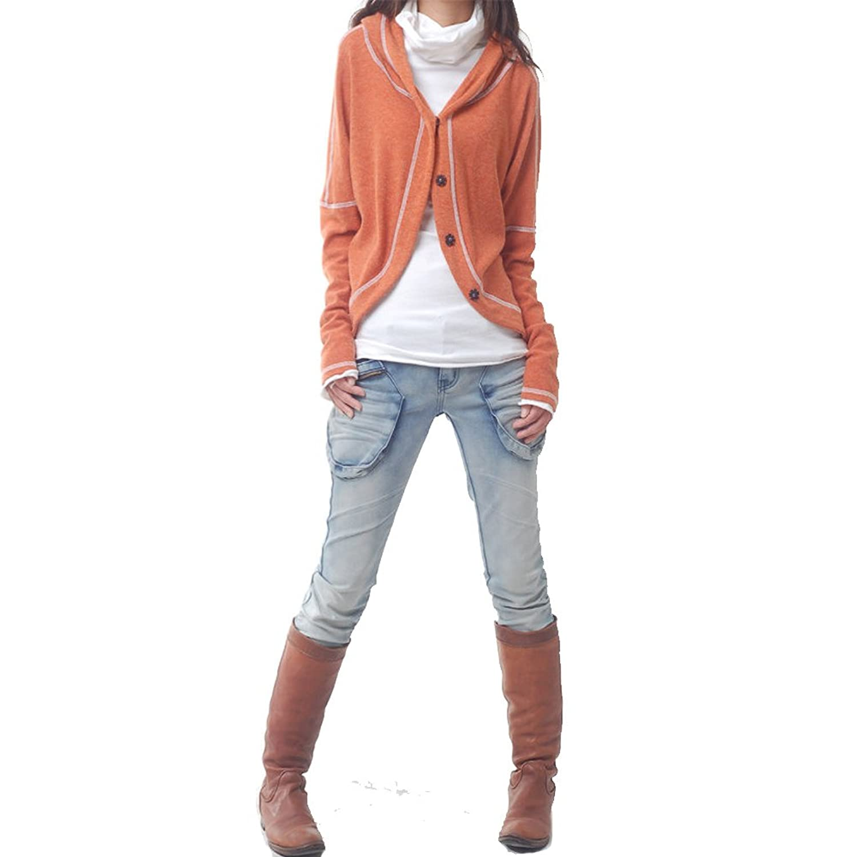 "Idea2lifestyle Women's Woolen Cardigan Sweater ""Secret Sunshine"" Orange"