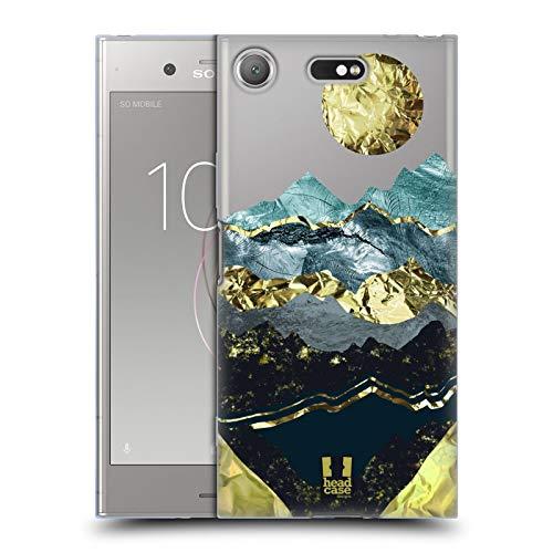 Head Case Designs Navy Waves Gold Leaf Landscape Art Soft Gel Case for Sony Xperia XZ1 ()