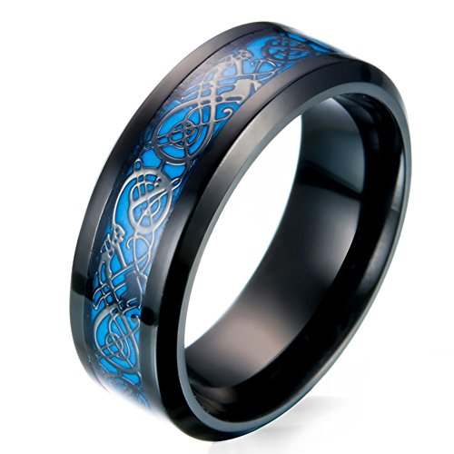 JAJAFOOK Men's 8mm Black Carbon Fiber Celtic Dragon Blue Luminous Effect Ring Band Glow in the Dark ()