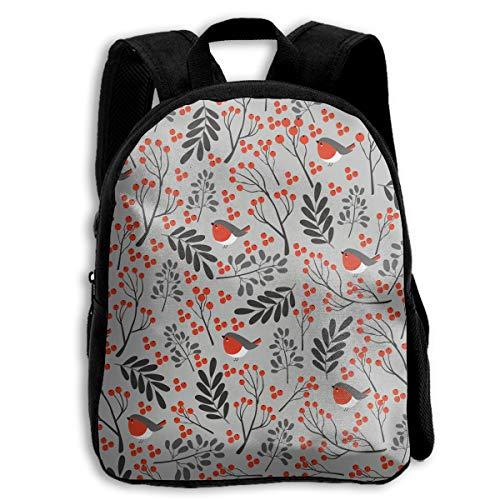 UGFGF Christmas Bullfinch Pattern Bonsai 2-6 Children Shoulders Bag Birthday Gift Prize Schoolbag -