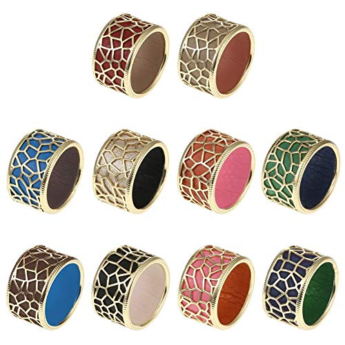 KOAEM Hollow Wide Statement Rings Reversible Leather Chunky Band Gift for -