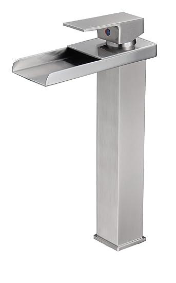 Eyekepper Tall Nickel Brushed Waterfall Bathroom Sink Vessel faucet ...