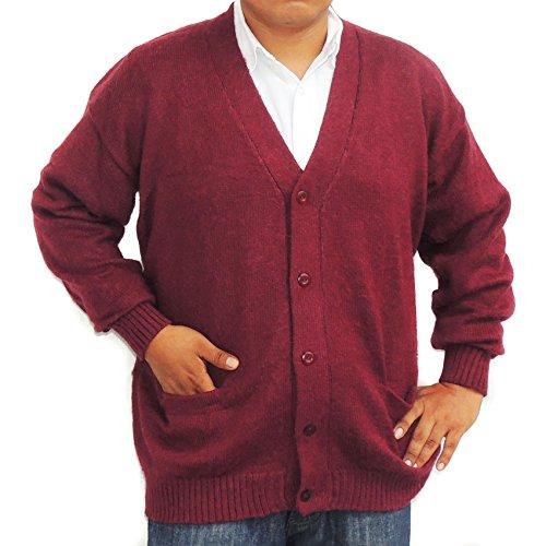CELITAS DESIGN Alpaca Cardigan Golf Sweater Jersey V neck buttons and Pockets made in Peru Burgundy XXXL by CELITAS DESIGN