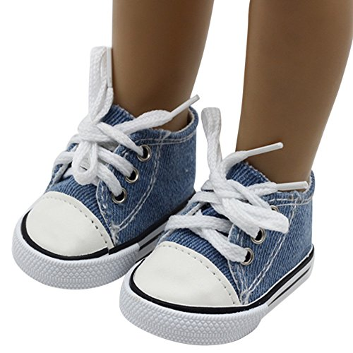 Rong Halloween Canvas Lace Up Sneakers Shoes for 18 inch American Girl & Boy Dolls (Dark Blue, A)