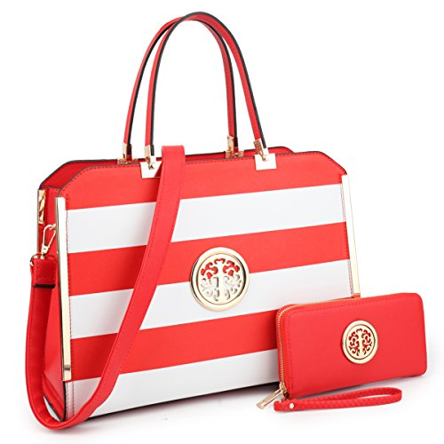Dasein Women Handbags Purses Vegan Leather Satchel Structured Work Bag Shoulder Totes for 13 Inches Laptop Tablet (Red/White)