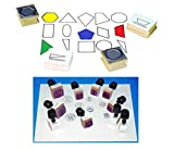Mozlly Value Pack - Center Enterprises Heads and Tails Coins Rubber Stamps (10pc Set) AND Plane Geometry Rubber Stamps - Regular and Irregular Shapes - Arts and Crafts (15pc Set) (2 Items)