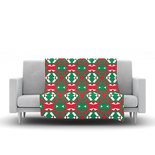 60 by 50 Kess InHouse Empire Ruhl Christmas Geo Red Green Fleece Throw Blanket
